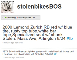 Stolen Bikes Boston Twitter Stream, August 26th
