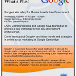 Google and LAwSComm offer free workshop for Massachusetts Law Enforcement